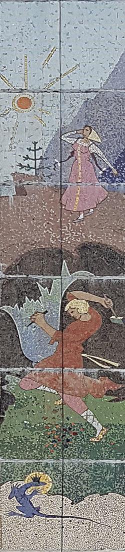Дмитров, мозаика на стене панельного дома, застройка 1980-х гг.